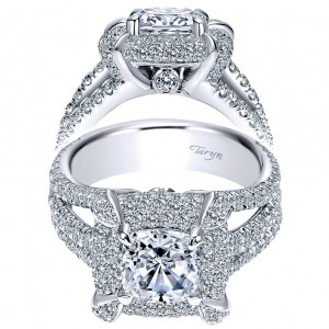 Taryn 18k White Gold Cushion Cut Double Halo Engagement Ring TE8764W83JJ