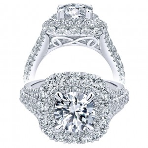 Taryn 18K White Gold Round Double Halo Engagement Ring TE11983R6W83JJ
