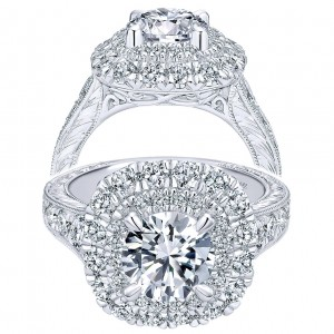 Taryn 18K White Gold Round Double Halo Engagement Ring TE11984R6W83JJ