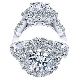 Taryn 18K White Gold Round Double Halo Engagement Ring TE11990R6W83JJ