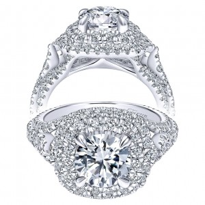 Taryn 18K White Gold Round Double Halo Engagement Ring TE12000R6W83JJ