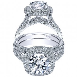 Taryn 18K White Gold Round Double Halo Engagement Ring TE8305W83JJ
