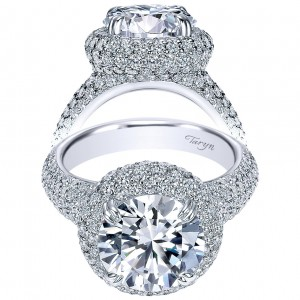 Taryn 18K White Gold Round Double Halo Engagement Ring TE8309W83JJ