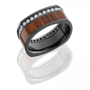 Lashbrook ZHW9.5FSQ14.5OC/COCOETERNDIA.03 POLISH Hard Wood Wedding Ring or Band