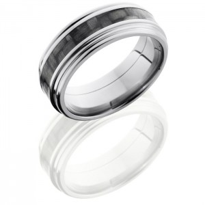 Lashbrook C8REF13-CF Polish Titanium Carbon Fiber Wedding Ring or Band