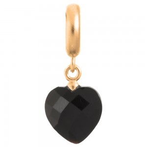 Endless Jewelry Black Heart Cut Drop Gold Plated Charm 53351-2