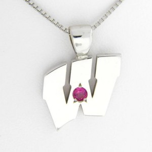 "UW Motion ""W"" 14 Kt White Gold Pendant - Large with Ruby"