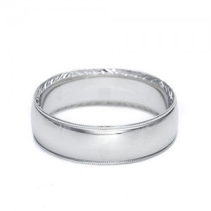 Tacori Platinum Hand Engraved Wedding Band 2558 5.5