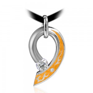 Kretchmer Platinum Water/Fire Comet Tension Set Pendant