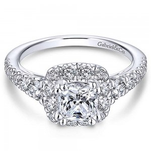Gabriel 14 Karat Cushion Cut Halo Engagement Ring ER13882C4W44JJ