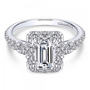 Gabriel 14 Karat Emerald Cut Halo Engagement Ring ER13885E4W44JJ