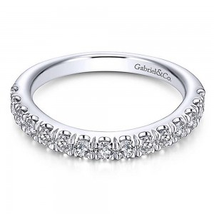 Gabriel 14 Karat White Gold Curved Wedding Band WB13870R4W44JJ