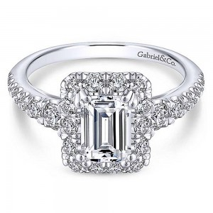 Gabriel 18 Karat Emerald Cut Halo Engagement Ring ER13885E4W84JJ