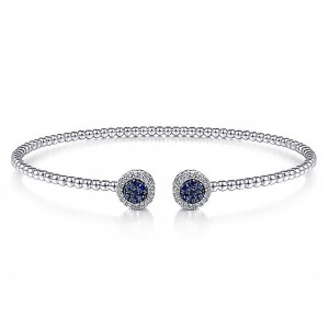 Gabriel Fashion 14 Karat White Gold A Quality Sapphire Bangle Bracelet BG4244-65W45SA
