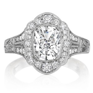 Henri Daussi AFL Cushion Halo Antique Engraved Diamond Engagement Ring