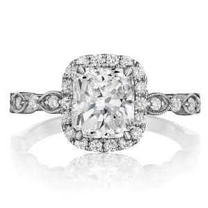 Henri Daussi AGC Cushion Halo Floral Inspired Antique Diamond Engagement Ring