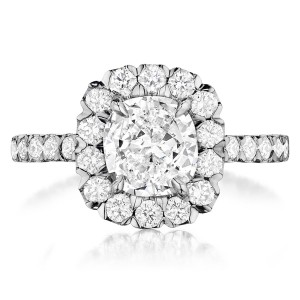 Henri Daussi AJK Unique V-Prong Cushion Halo Diamond Engagement Ring
