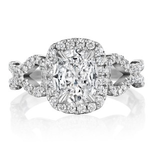 Henri Daussi AKSA Cushion Halo Interlaced Shank Diamond Engagement Ring