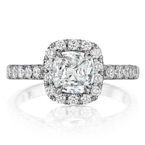 Henri Daussi AL Cushion Halo Diamond Engagement Ring