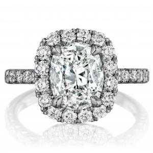 Henri Daussi AMDM Cushion Halo Diamond Engagement Ring