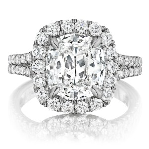 Henri Daussi AMDS Cushion Halo Spilt Shank Diamond Engagement Ring