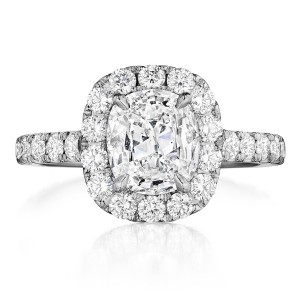 Henri Daussi AMKL Cushion Halo Diamond Engagement Ring