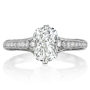 Henri Daussi AN Cushion Antique Solitaire Diamond Engagement Ring