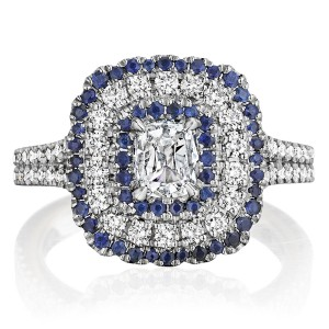 Henri Daussi ANC Triple Cushion Halo Diamond & Sapphire Engagement Ring
