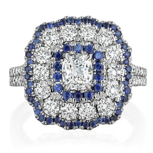 Henri Daussi ANCB Triple Cushion Halo Diamond & Sapphire Engagement Ring