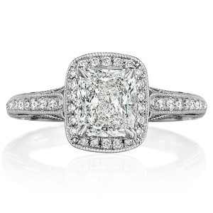 Henri Daussi ANH Cushion Halo Antique Diamond Engagement Ring