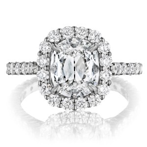 Henri Daussi ANV Cushion Halo Diamond Engagement Ring