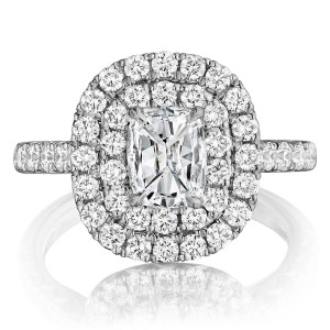 Henri Daussi AQ Cushion Double Halo Diamond Engagement Ring