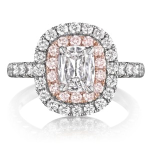 Henri Daussi AQP Cushion Double Halo with Pink Diamonds Engagement Ring