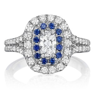 Henri Daussi AQSB Cushion Double Halo Diamond & Sapphire Engagement Ring