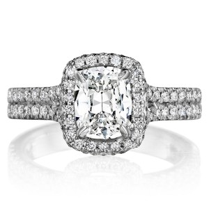 Henri Daussi ASPD Cushion Halo Split Shank Diamond Engagement Ring
