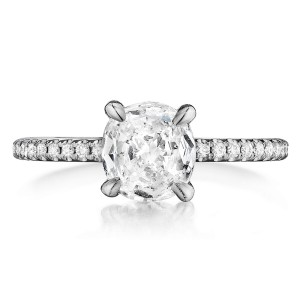 Henri Daussi ASX Cushion Halo Diamond Engagement Ring