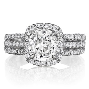 Henri Daussi ATR Cushion Halo Triple Shank Diamond Engagement Ring