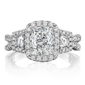 Henri Daussi ATRP Cushion Halo with Trapezoid Diamonds Engagement Ring