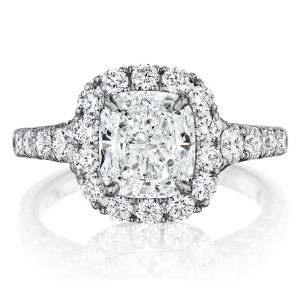 Henri Daussi AV Cushion Halo Graduated Accent Diamonds Engagement Ring