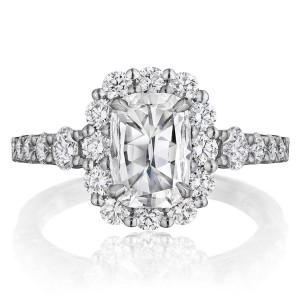 Henri Daussi AVD Cushion Scalloped Halo Diamond Engagement Ring