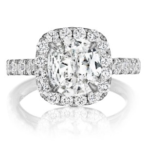 Henri Daussi AWSB Cushion Halo Diamond Engagement Ring