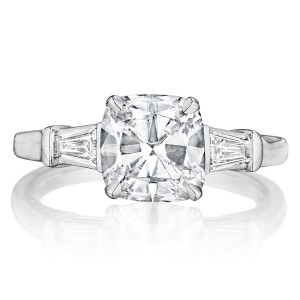 Henri Daussi AWT Classic Cushion with Tapered Baguette Diamonds Engagement Ring