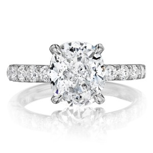 Henri Daussi AXB Cushion Diamond Solitaire Engagement Ring