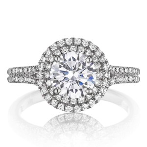 Henri Daussi BDTS Round Double Halo Split Shank Diamond Engagement Ring
