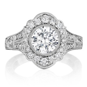 Henri Daussi BFL Round Pave Halo Engraved Antique Diamond Engagement Ring