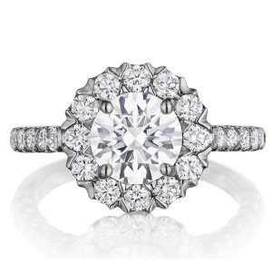 Henri Daussi BJS Unique V-Prong Halo Diamond Engagement Ring