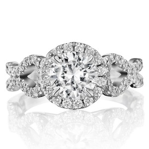 Henri Daussi BKSA Round Halo Interlaced Shank Diamond Engagement Ring