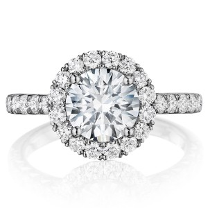 Henri Daussi BMDM Round Halo Diamond Engagement Ring