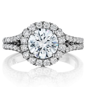 Henri Daussi BMDS Round Halo Spilt Shank Diamond Engagement Ring