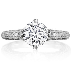 Henri Daussi BN Antique Solitaire Diamond Engagement Ring